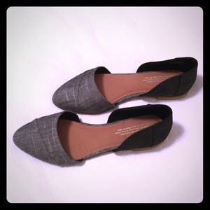 TOMS Jutti D'Orsay Black Leather Flat